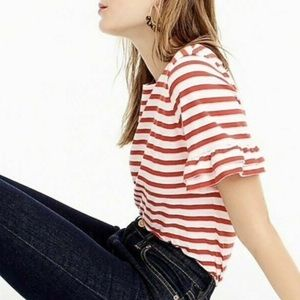 J. Crew Ruffle Sleeves Striped Top Women's S